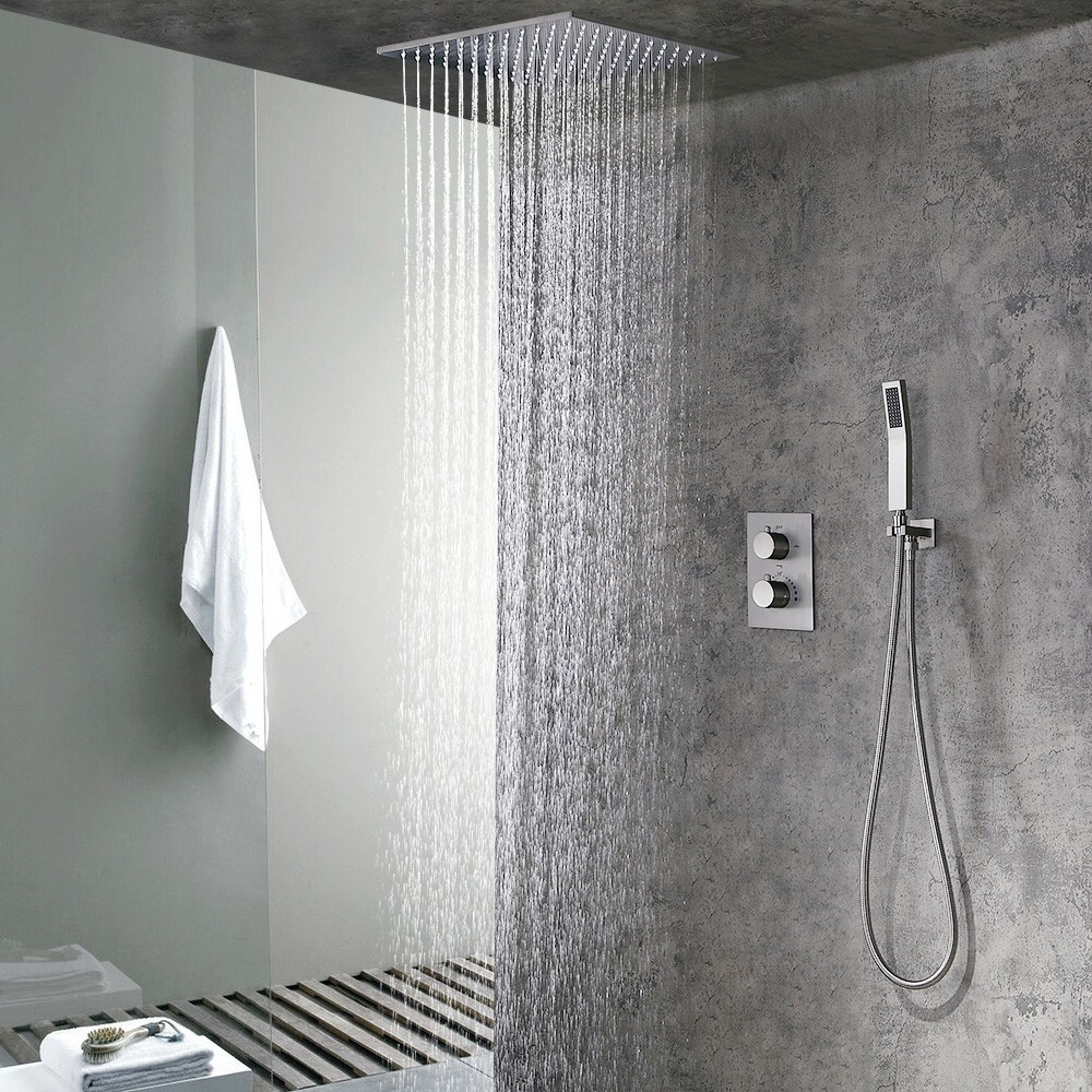 As the name suggests Rain Shower is just as experiencing rain outside. If beautifully put, rain shower heads are to feel the rain inside. They come as ceiling mounted and available in different sizes both in round and square shapes.